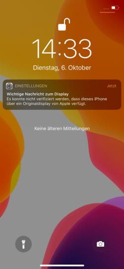 iOS Wichtige Nachricht zum Display