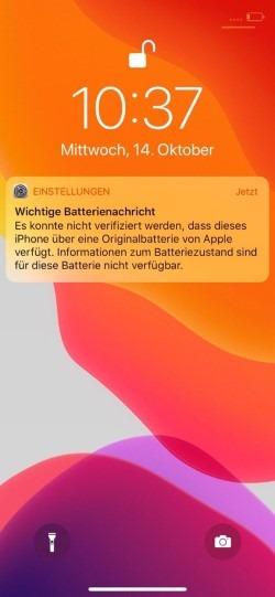 iOS Wichtige Batterienachricht